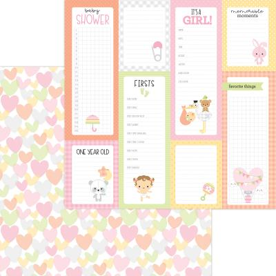 Doodlebug Baby Girl Designpapier - Showered With Love